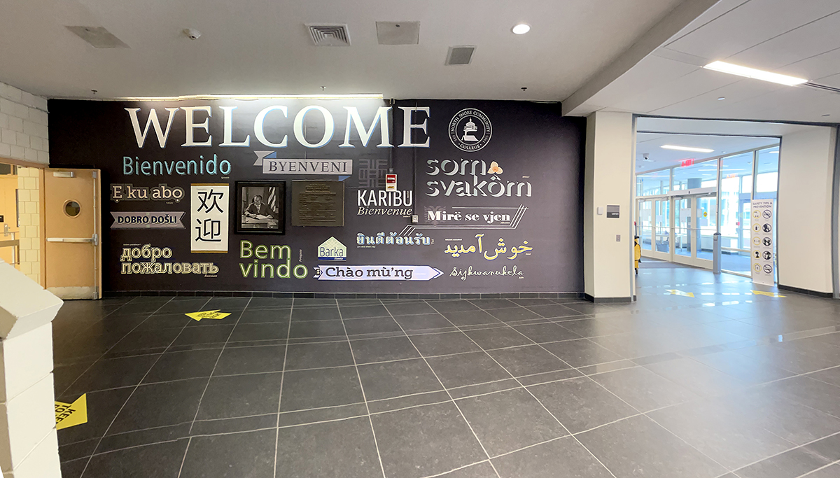 New renovated lobby with Welcome wall graphic