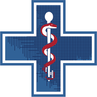 Blue cross with red Rod of Asclepius in center