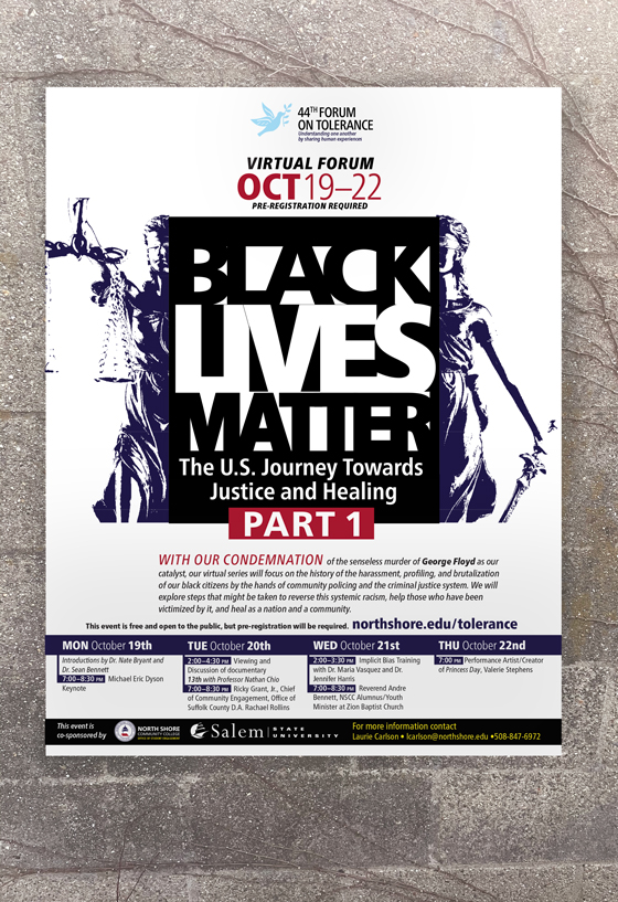 Black Lives Matter poster with scales of justice borken by the type Black Lives Matter