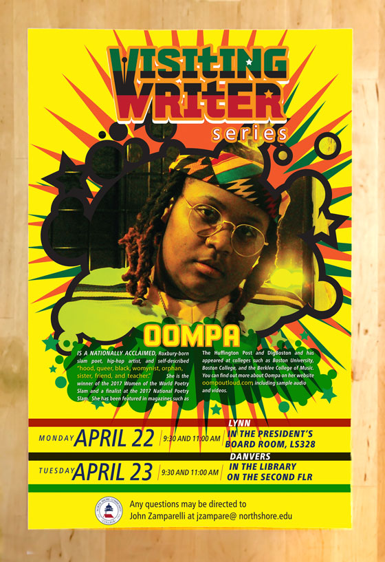 Yellow Oompa poster with head portrait of Oompa within a grafitti style balloon and bursts in the background, with red, black, green combinations.