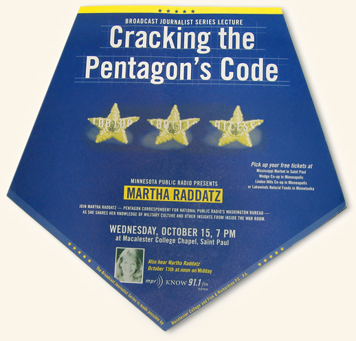 Blue, upsidedown, pentagon poster with three embroidered army stars in center