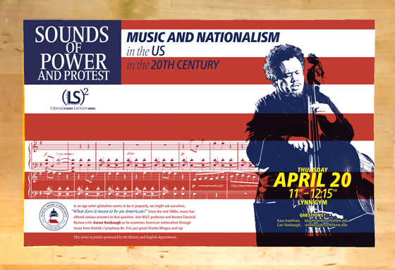 American flag background with musical notes and posterized Charles Mingus playing bass in foreground.