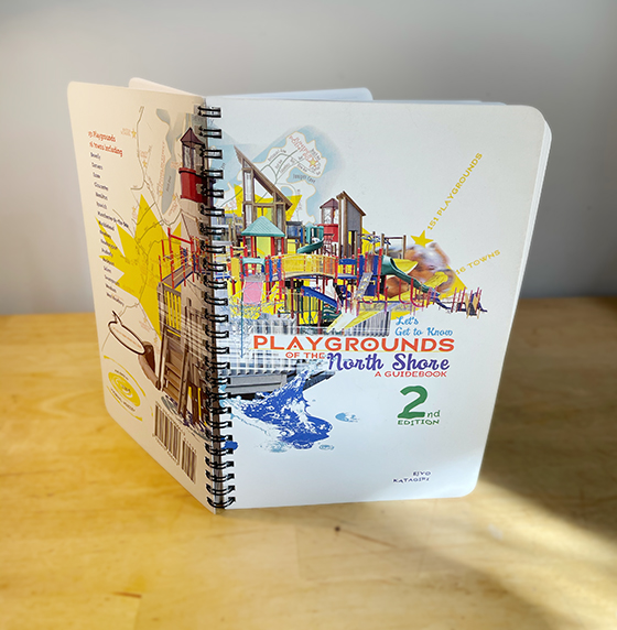 Cover of book with pieces of playgrounds stitchd together.